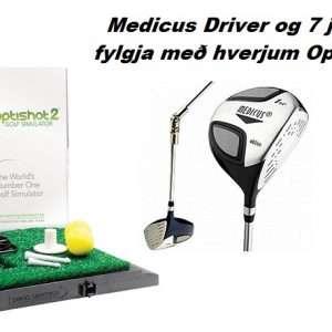 *Vikutilboð* Optishot Golfhermir + 2 æfingakylfur