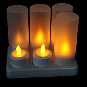 6 LED Sprittkerti með hleðslustöð