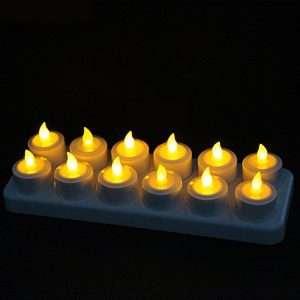 12 LED Sprittkerti með hleðslustöð